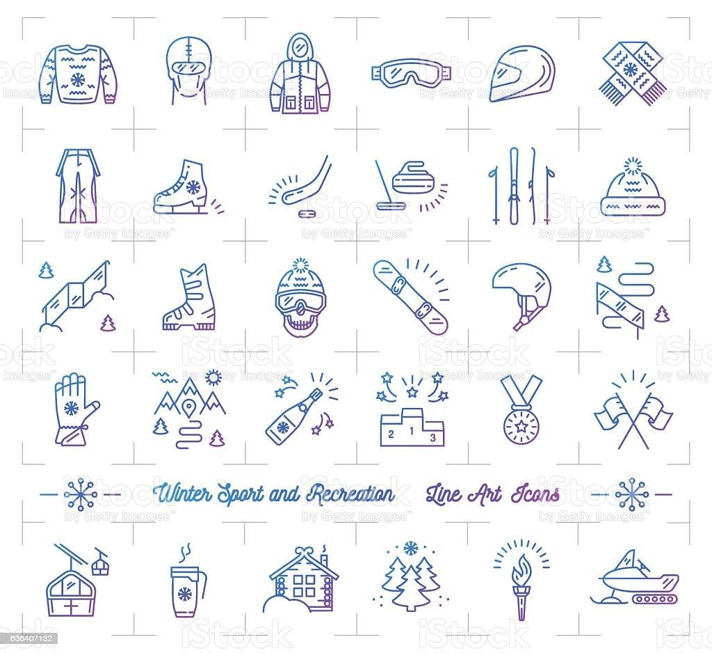 Winter sport gradient outline icons, Seasonal recreation, Flat infographics logo vector art illustration