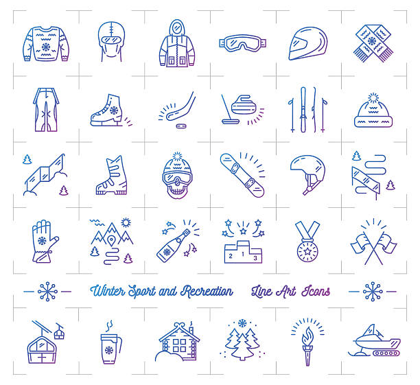 winter sport gradient outline icons, seasonal recreation, flat infographics logo - ferien  und feiertagssymbole stock-grafiken, -clipart, -cartoons und -symbole