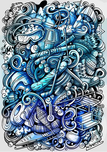 Winter sport hand drawn doodle background. Cartoon detailed illustration