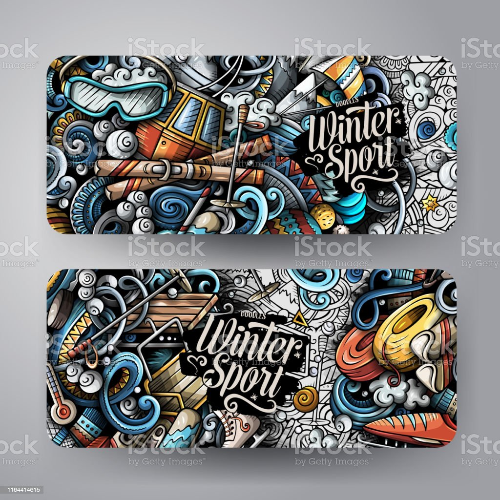 Winter sport hand drawn doodle banners set. Cartoon detailed flyers....