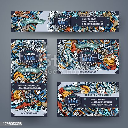 Winter sport hand drawn doodle corporate identity set. Cartoon detailed flyers. Cold activities cards with objects and symbols. Ski resort background illustrations. Color vector design elements