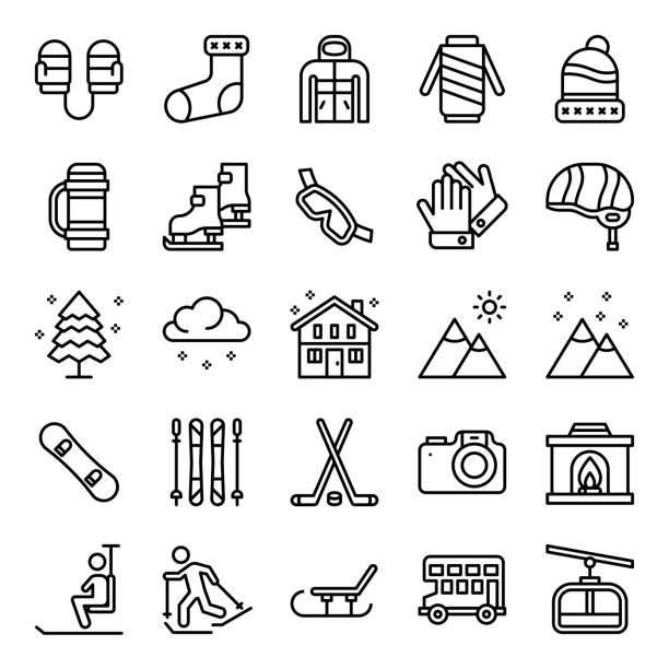 stockillustraties, clipart, cartoons en iconen met winter sport icon set bewerkbare lijn ontwerp. - pinaceae