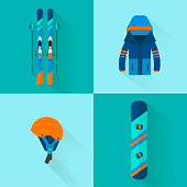Winter sport icons collection. Skiing and snowboarding set equip