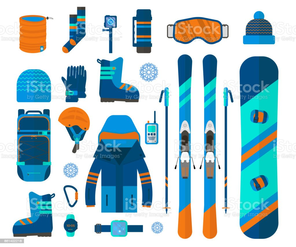 Winter sport icons collection. Skiing and snowboarding set equipment...