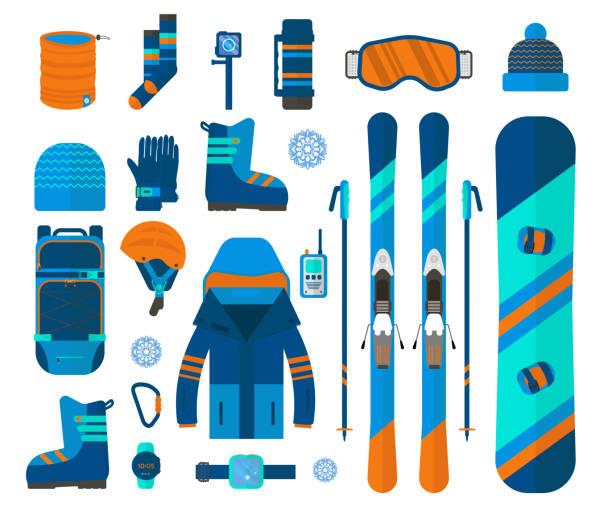 winter-sport-icons-auflistung. ski- und snowboard-set ausrüstung - funktionsjacke stock-grafiken, -clipart, -cartoons und -symbole