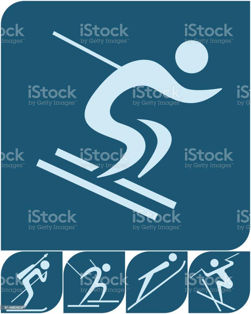 Winter sport icons set 2018