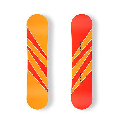 Winter sport icons snowboard for ski resort.