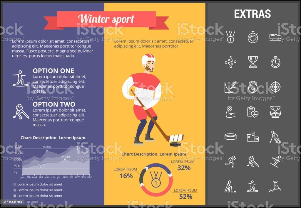 冬スポーツ インフォ グラフィック テンプレート 要素 アイコン