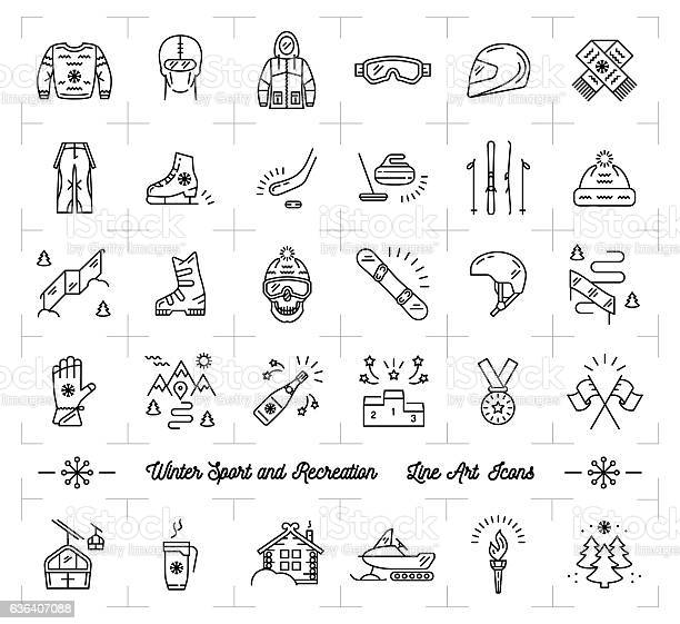 Winter sport line icons set recreation ski snowboard ice skating vector id636407088?b=1&k=6&m=636407088&s=612x612&h=mhqywwiydgjkdlf1dlrhrzrkdojzquqb 77thw99kfw=