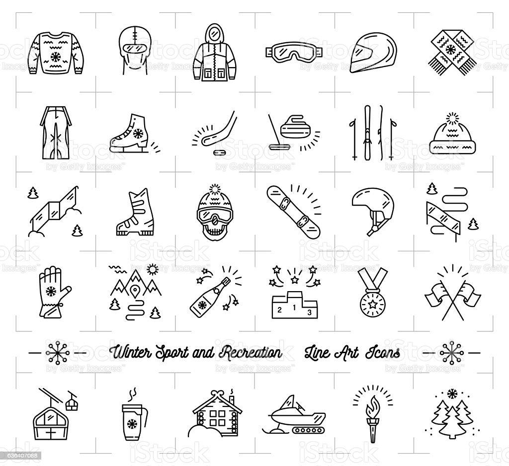 Winter sport line icons set, Recreation, ski, snowboard, ice skating vector art illustration