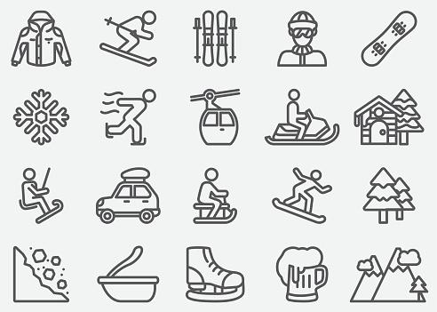 Winter Sport Line Icons