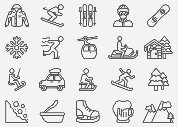 illustrations, cliparts, dessins animés et icônes de icônes de ligne sport d'hiver - ski