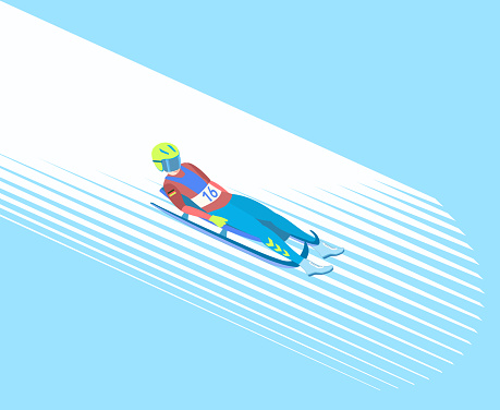Athlete on a sledge (face up) on a snowy track. Vector illustration EPS-8.