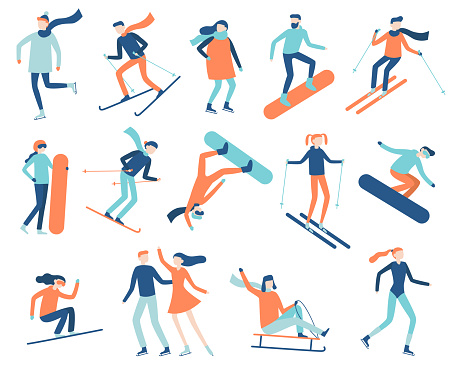 Winter sport people. Sportsman on snowboard, skis or ice skates. Snowboarding, skiing and skating sports isolated flat vector set