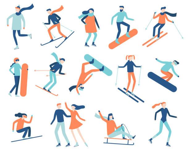 illustrations, cliparts, dessins animés et icônes de gens de sport hiver. sportif sur la planche à neige, skis ou patins à glace. planche à neige, le ski et le patinage sportif vecteur plat isolé jeu - ski
