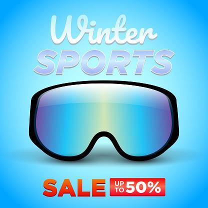 winter sport sale up to 50% promotion banner vector illustration
