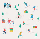Winter sport scene, Christmas festival and fair, families with kids make fun