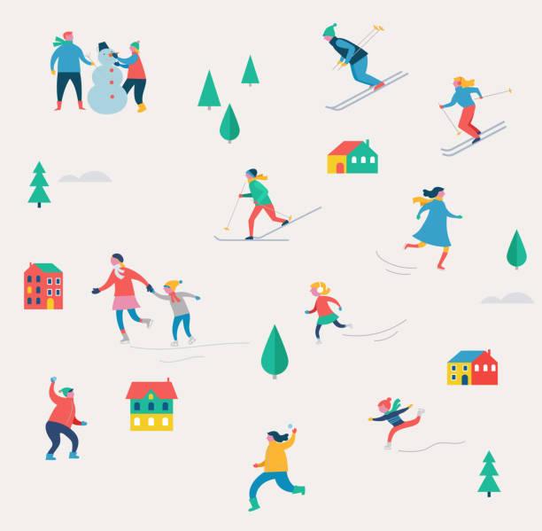 stockillustraties, clipart, cartoons en iconen met winter sport scène, kerstmis festival en fair, gezinnen met kinderen maken plezier - family winter holiday