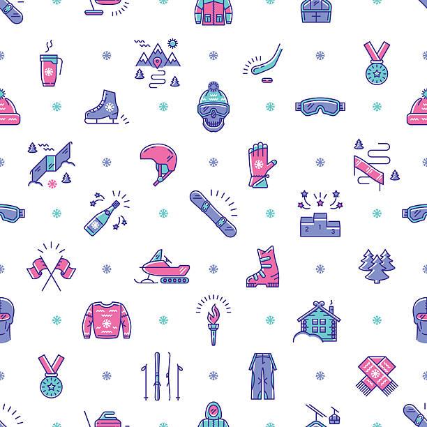 illustrazioni stock, clip art, cartoni animati e icone di tendenza di winter sport seamless pattern, line icon. snowboarding, ski, skating, competition - negozio sci