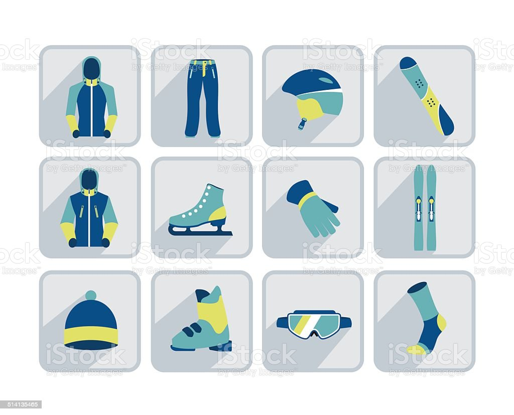 Winter sport, skiing and hiking flat icon collection. vector art illustration