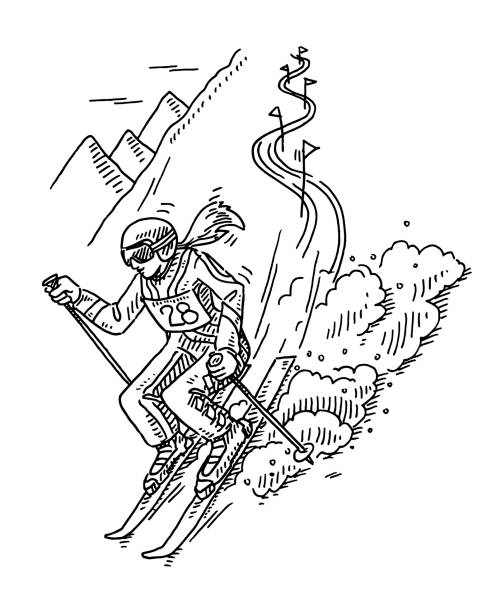 Winter Sport Slalom Skiing Drawing Hand-drawn vector drawing of a Winter Sport scene, Slalom Skiing. Black-and-White sketch on a transparent background (.eps-file). Included files are EPS (v10) and Hi-Res JPG. winter sport stock illustrations
