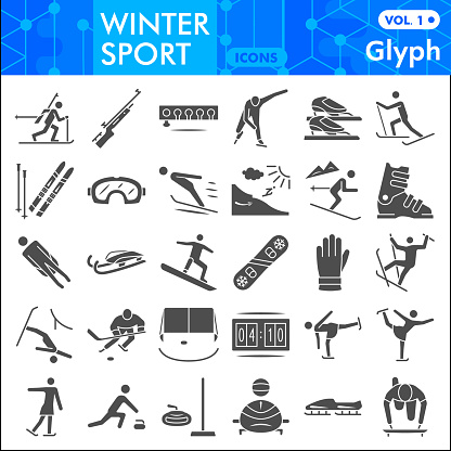 Winter sport solid icon set, Tools of winter sports symbols collection or sketches. Extreme sports glyph style signs for web and app. Vector graphics isolated on white background.