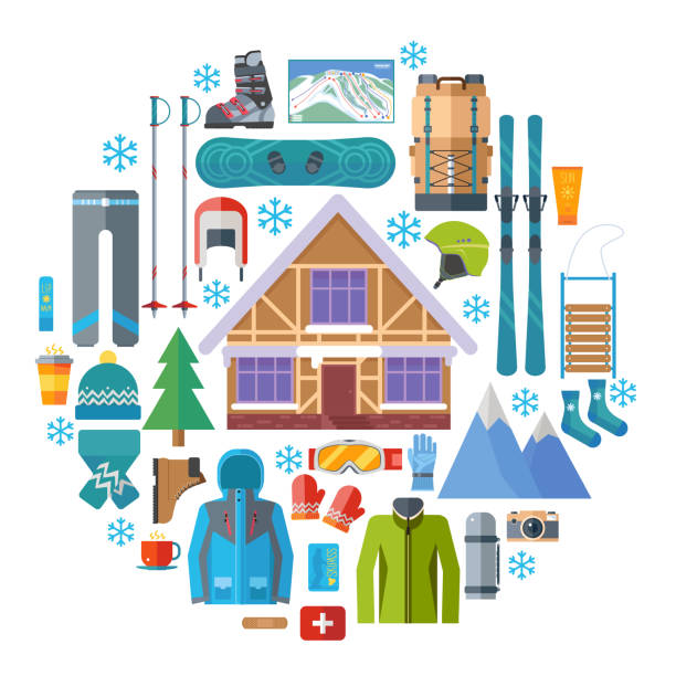 wintersport-aktivitäten und ausrüstung runden icon-set. skifahren, snowboarden vektor isoliert. ski resort im flat design elemente. - funktionsjacke stock-grafiken, -clipart, -cartoons und -symbole