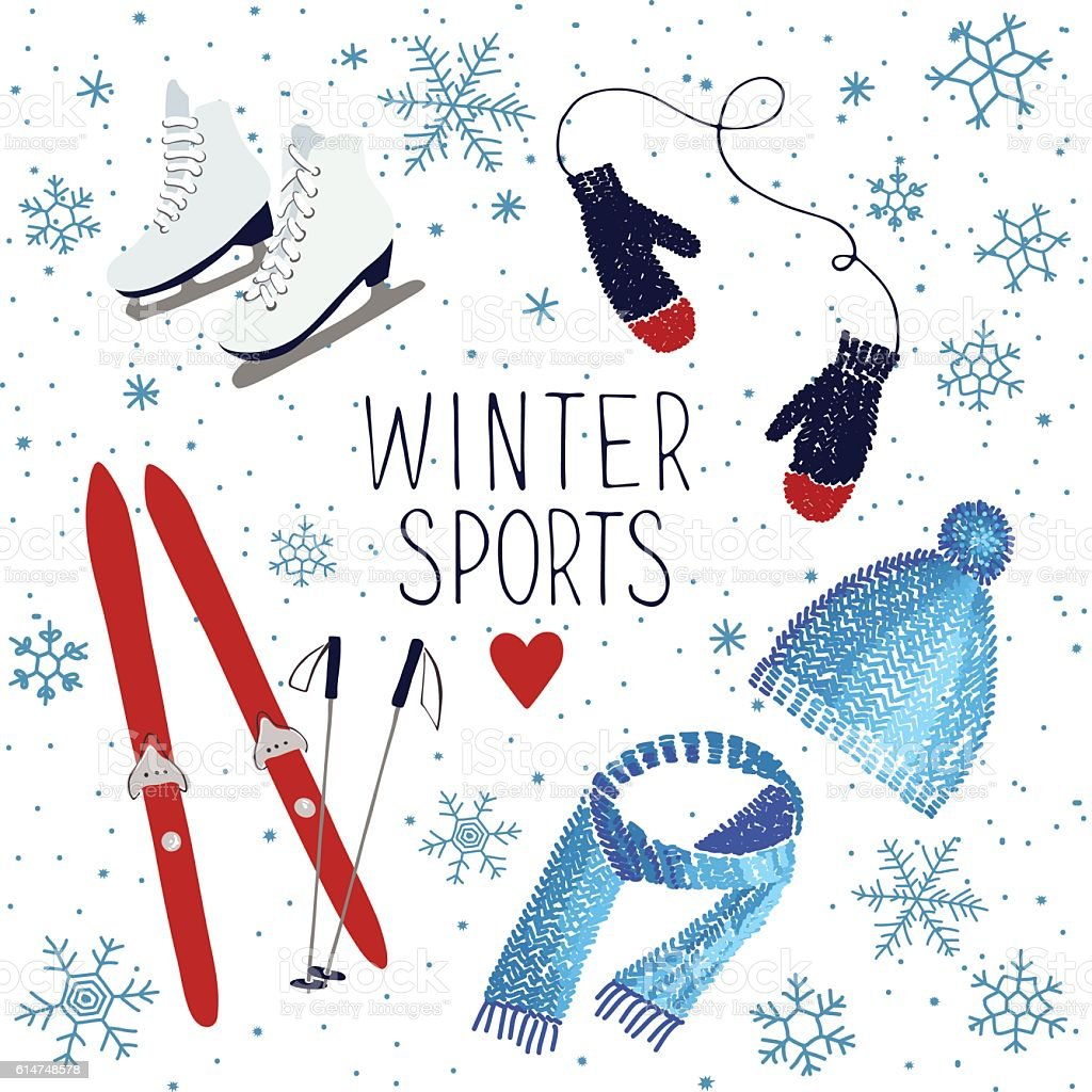 Winter sports and activities vector art illustration
