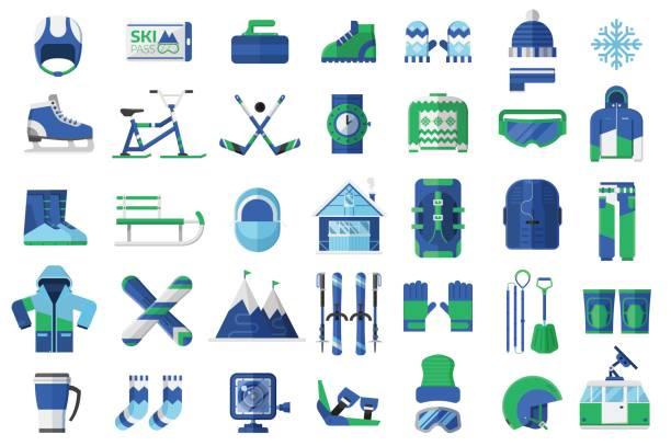 wintersport und aktivität icons - funktionsjacke stock-grafiken, -clipart, -cartoons und -symbole