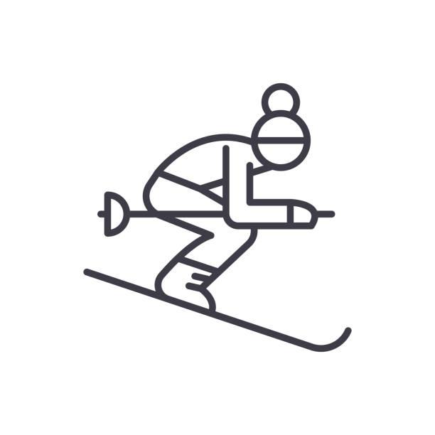 冬季運動黑圖示概念。冬季運動平面向量符號, 符號, 插圖。向量藝術插圖
