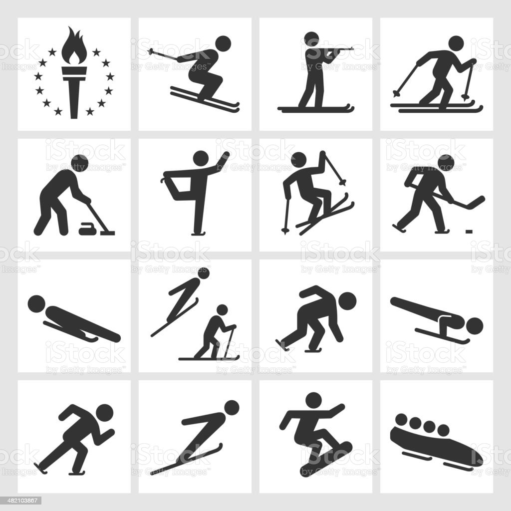 Winter Sports Black White Royalty Free Vector Icon Set ...