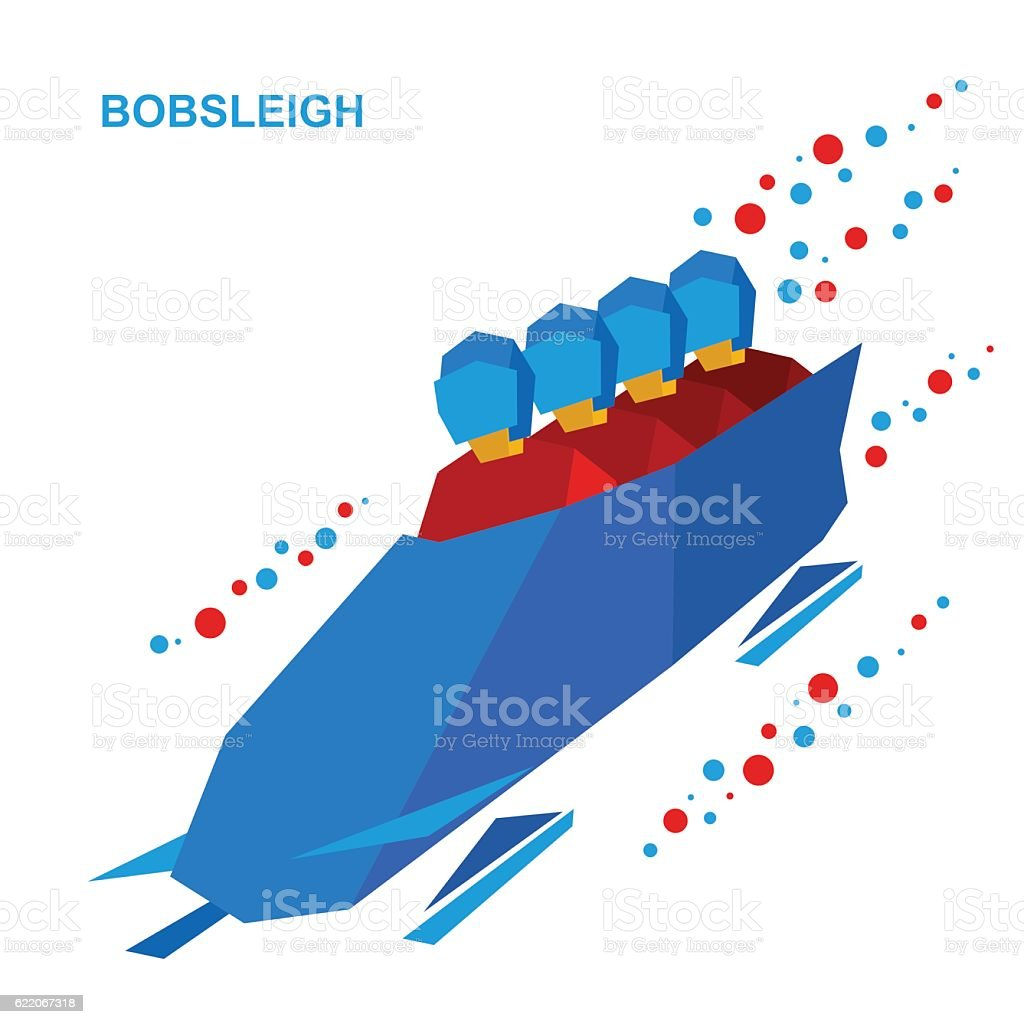 Winter sports - bobsleigh. Cartoon athletes ride in bobsled. vector art illustration