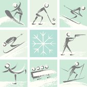 Hand drawn style winter sports collection. Zip contains AI and hi-res jpeg.