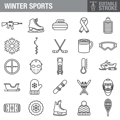 Winter Sports Editable Stroke Icon Set