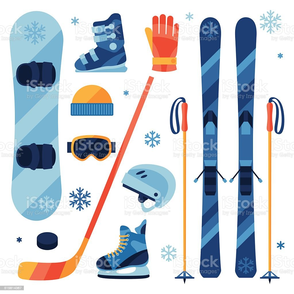 Winter sports equipment icons set in flat design style. vector art illustration