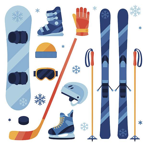winter-geräte-icons im flachen design-stil. - skifahren stock-grafiken, -clipart, -cartoons und -symbole