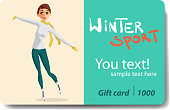 Winter sports, ice skating. Sale discount gift card. Branding design for a sporting goods store