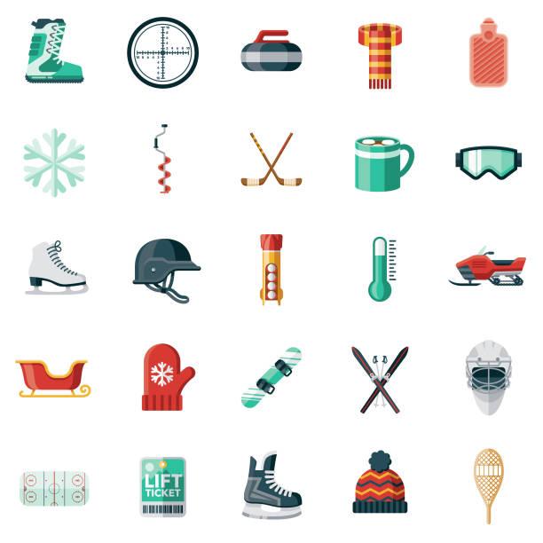 illustrazioni stock, clip art, cartoni animati e icone di tendenza di winter sports icon set - ski