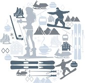 A set of winter sports related icons. See below for more  sport and leisure images.