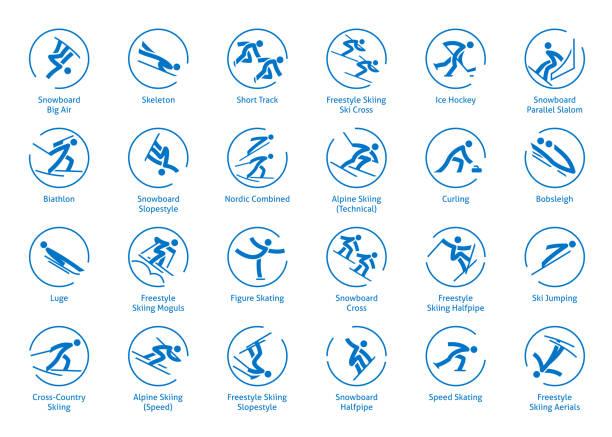 bildbanksillustrationer, clip art samt tecknat material och ikoner med vintersport ikoner set - skatepark