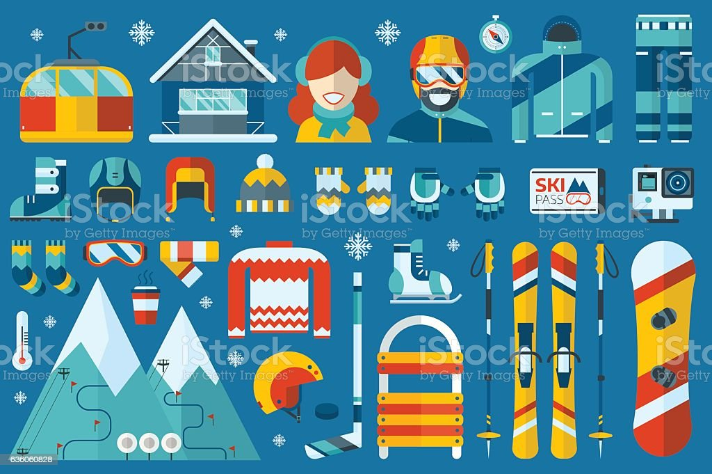 Winter Sports Icons vector art illustration