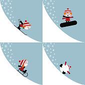 winter sports kid ski snowboard slide illustration vector