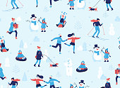 Winter sports outdoors seamless pattern. People having fun and winter activities in the park, skiing, skating, snowboarding, walking the dog, making a cute snowman, cartoon characters in flat design.