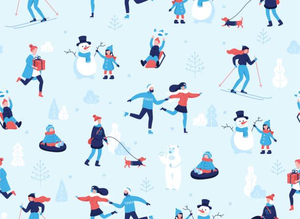 wintersport im freien musterdesign. menschen mit spaß und winteraktivitäten im park, skifahren, skaten, snowboarden, spaziergang mit dem hund, einen niedlichen schneemann, zeichen cartoon im flat design - urlaubsaktivitäten stock-grafiken, -clipart, -cartoons und -symbole
