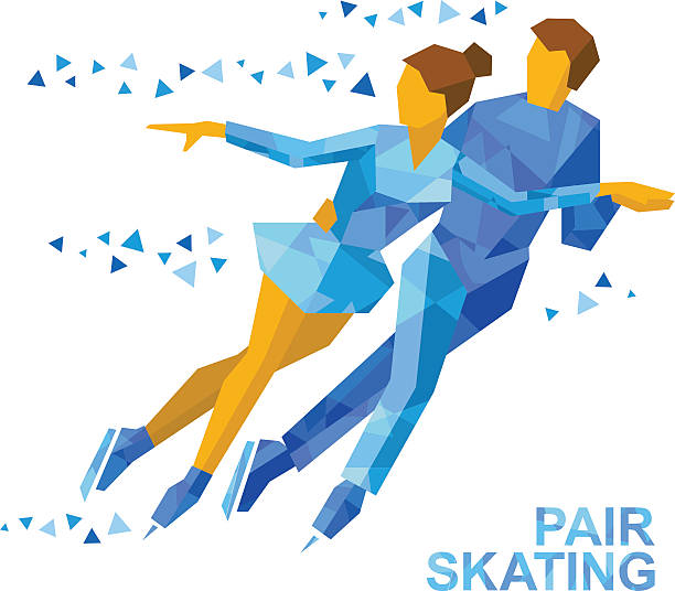 Winter sports: Pair Figure Skating. Man and woman on ice Winter sports - Pair Figure Skating. Cartoon skating man and woman training. Ice show. Flat style vector clip art isolated on white background. figure skating stock illustrations