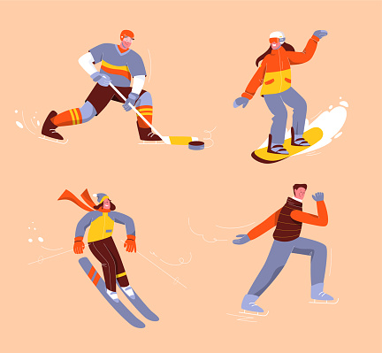 Winter sports set of isolated persons