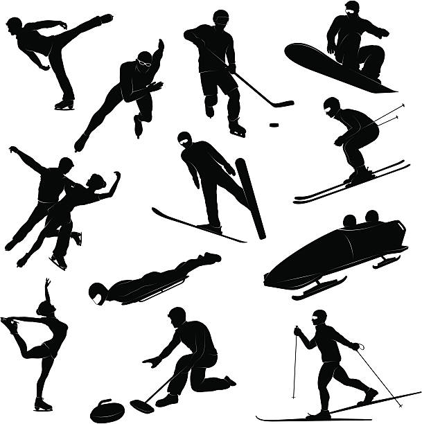 Winter sports silhouettes Detailed silhouettes set of Winter sports figures figure skating stock illustrations