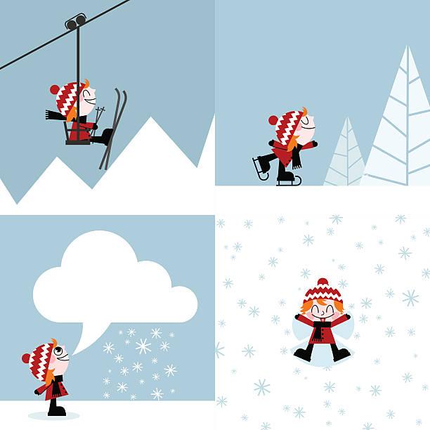 winter sports ski-skating snow mountain kind vektor-illustration - urlaubsaktivitäten stock-grafiken, -clipart, -cartoons und -symbole