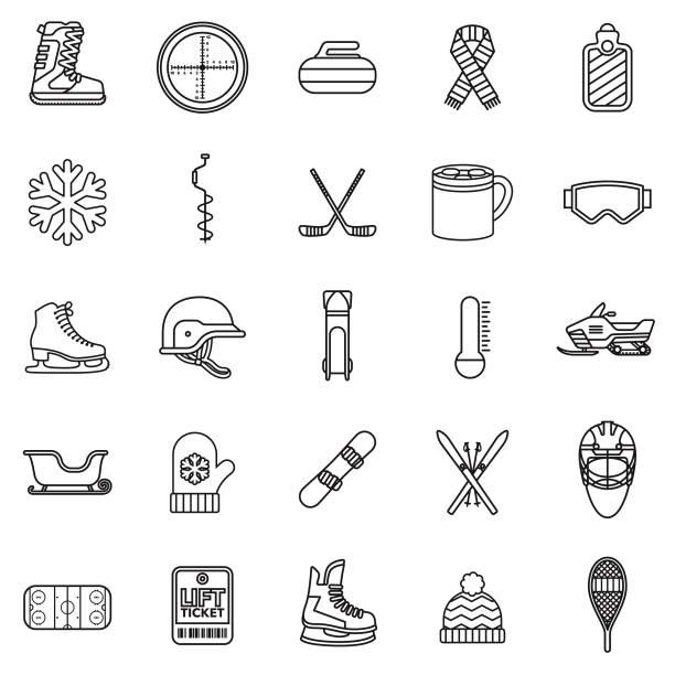 illustrazioni stock, clip art, cartoni animati e icone di tendenza di winter sports thin line icon - sci