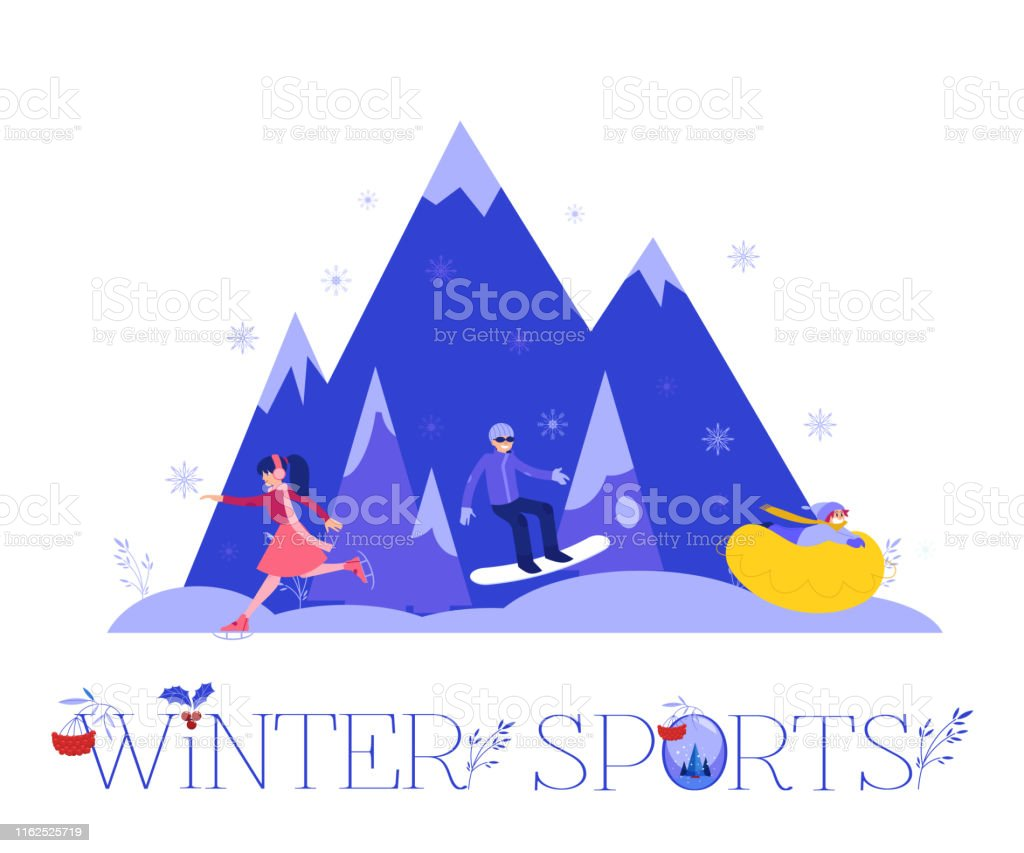 Winter sports vector illustration with various people in warm clothes...
